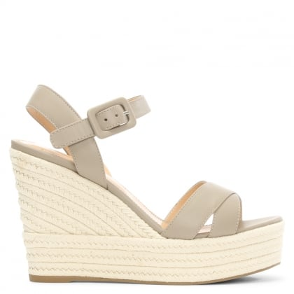 Maui 75 White Leather Wedge Sandal