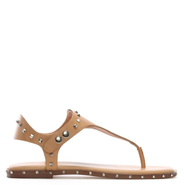 Mavor Beige Leather Studded Toe Post Sandals