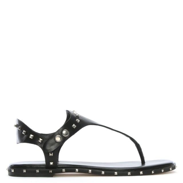 Daniel Mavor Black Leather Studded Toe Post Sandals