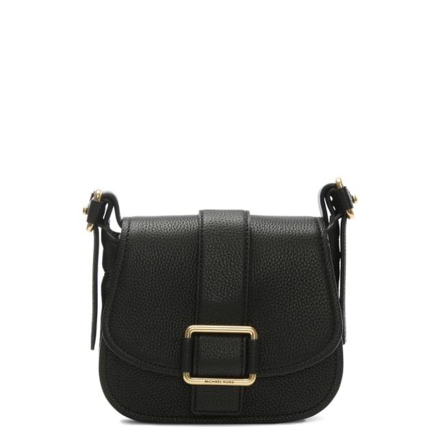 db98a00e4f44 Michael Kors Maxine Medium Black Leather Saddle Bag