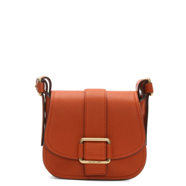 Maxine Medium Orange Leather Saddle Bag