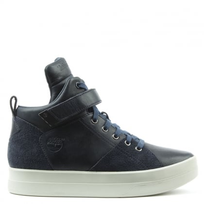 Mayliss Navy Leather High Top Trainer