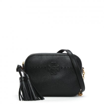 McGraw Black Leather Camera Cross-body Bag