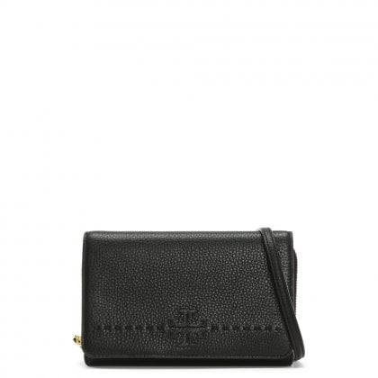 McGraw Black Leather Cross-Body Bag