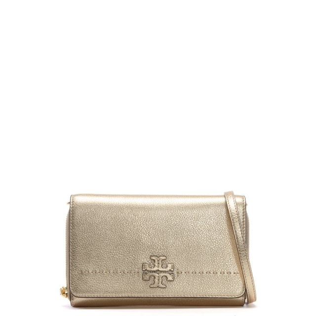 McGraw Gold Leather Cross-Body Bag