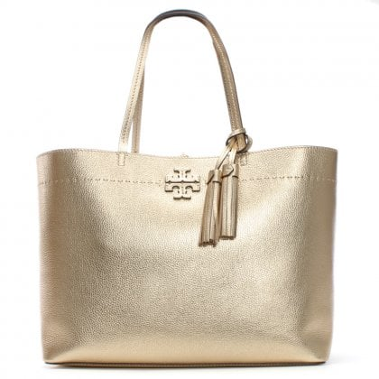 McGraw Gold Leather Tote Bag