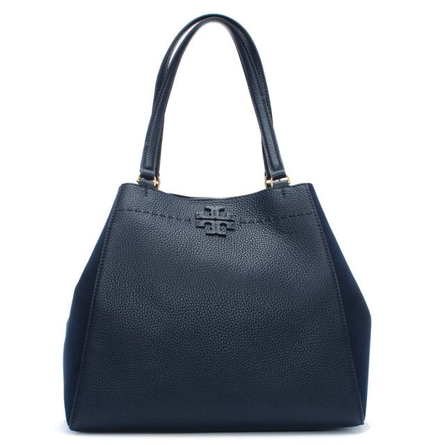 117202259624 Tory Burch McGraw Royal Navy Mixed Suede   Leather Carryall Shoulder Bag