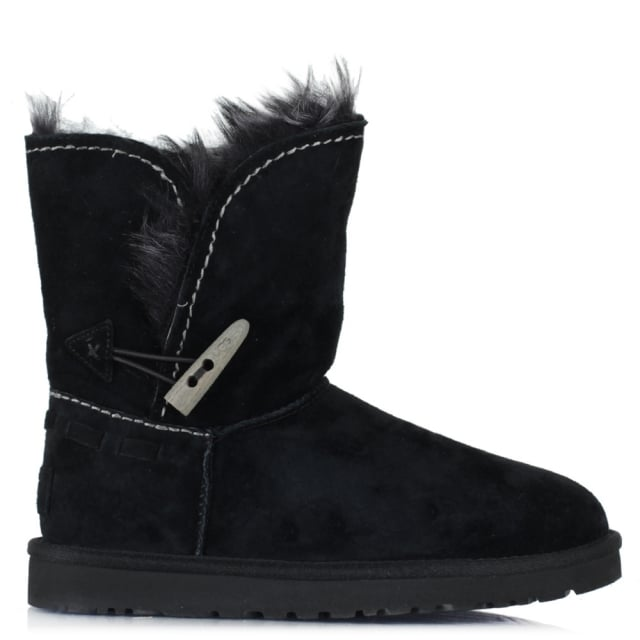 Meadow Black Suede Turned Cuff Toggle Ankle Boot