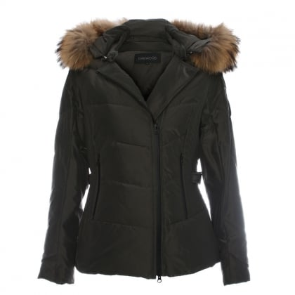 Medaille Khaki Padded Fur Trim Hooded Jacket