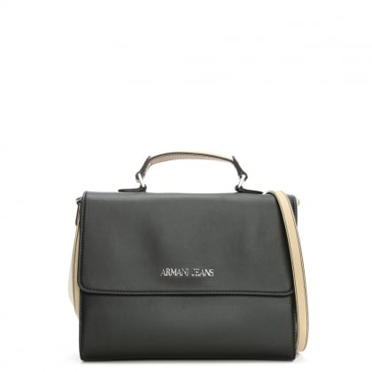 Medium Asburgo Black Contrast Satchel Bag
