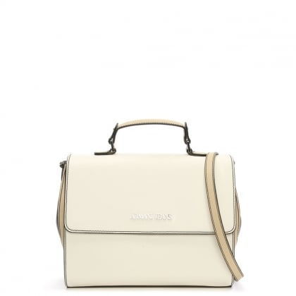 Medium Asburgo White Contrast Satchel Bag
