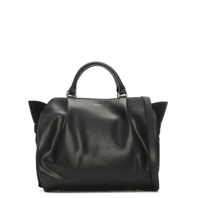 Medium Black Leather & Suede Satchel Bag