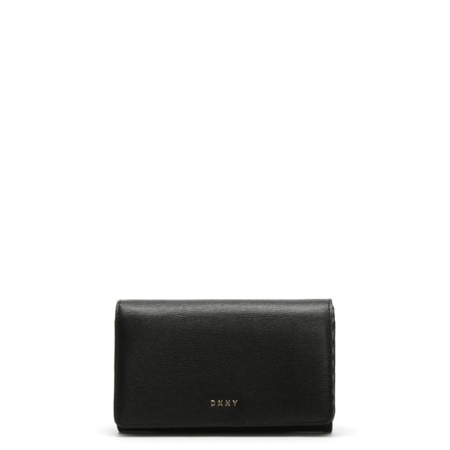 Medium Black Textured Leather Carryall Wallet