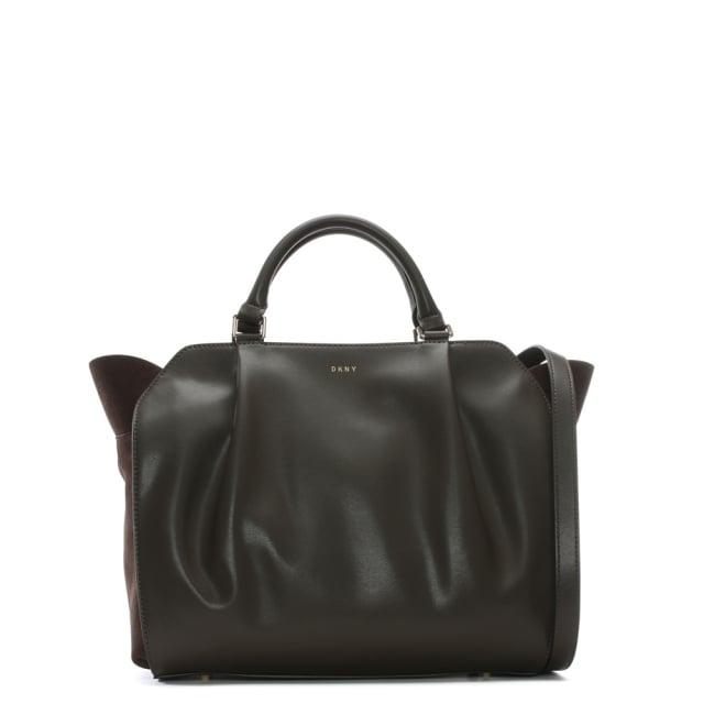 Medium Brown Leather & Suede Satchel Bag