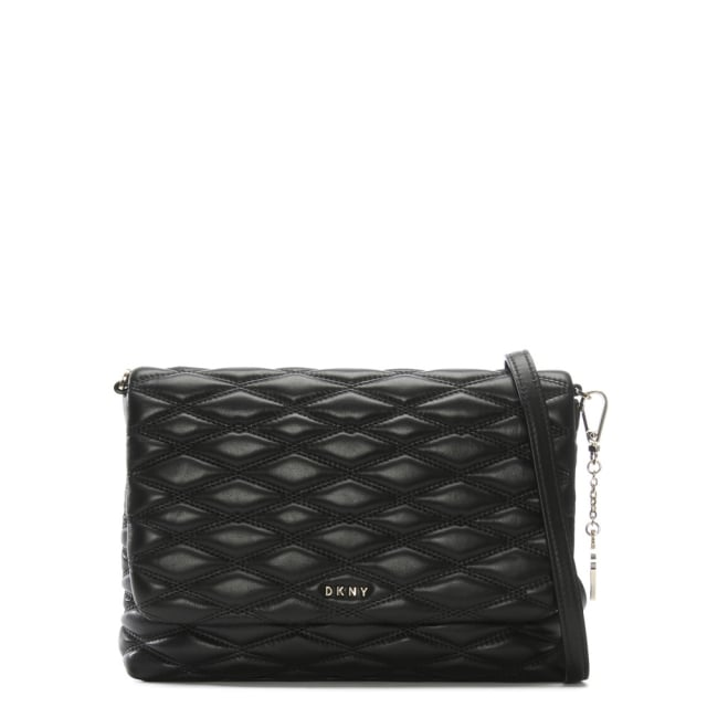Medium Diamond Black Leather Cross-Body Bag