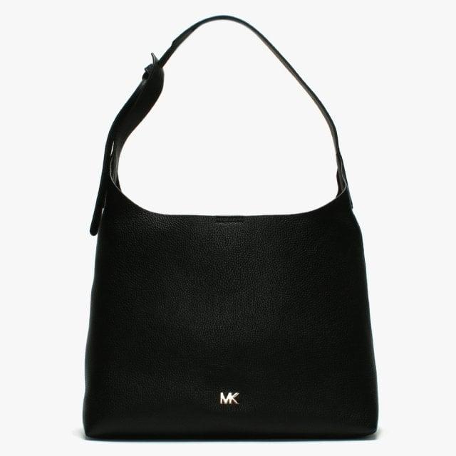 d6c2e0318504 Michael Kors Medium Junie Pebbled Black Leather Shoulder Bag