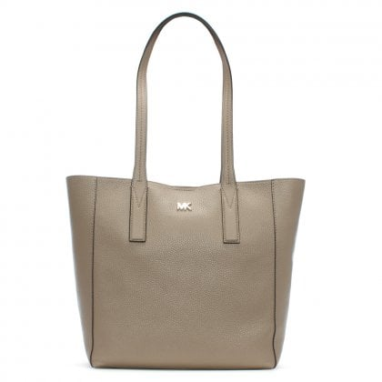 Medium Junie Truffle Pebbled Leather Tote Bag