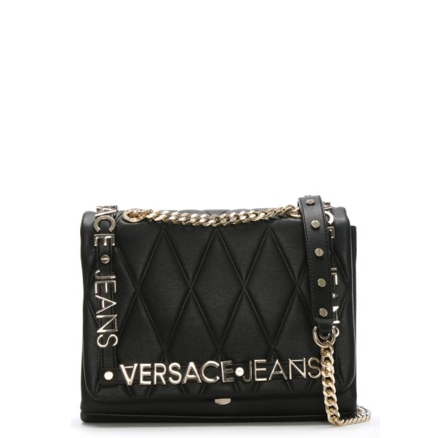 Versace Jeans Medium Quilted Black Chain Strap Cross Body Bag