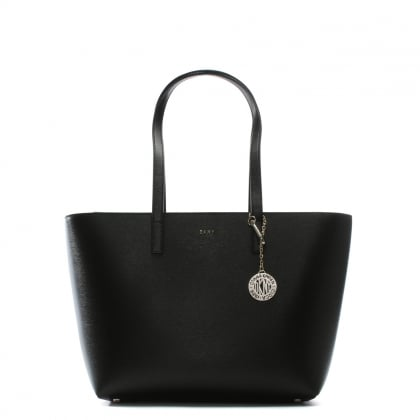 Medium Sutton Black Leather Tote Bag