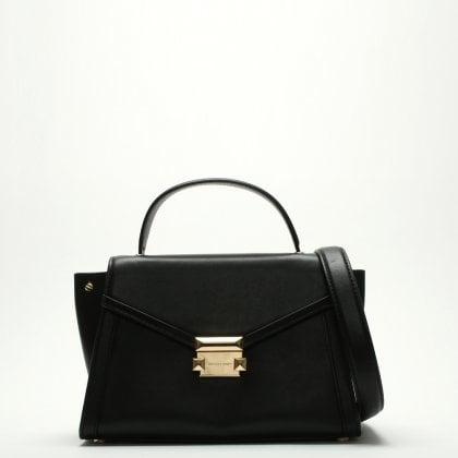Medium Whitney Black Leather Satchel Bag Michael Kors