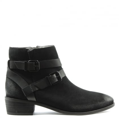 Meeya Black Suede Two Strap Ankle Boot