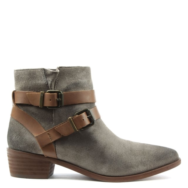 Meeya Grey Suede Two Strap Ankle Boot