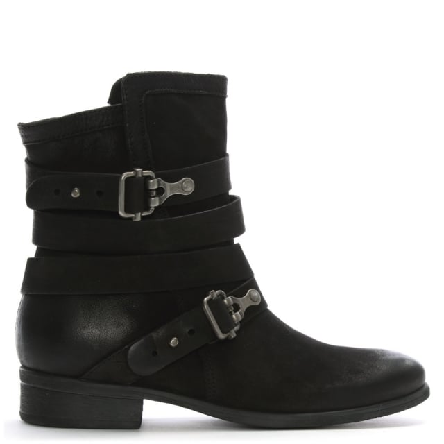 Meghan Black Leather Double Buckle Ankle Boot