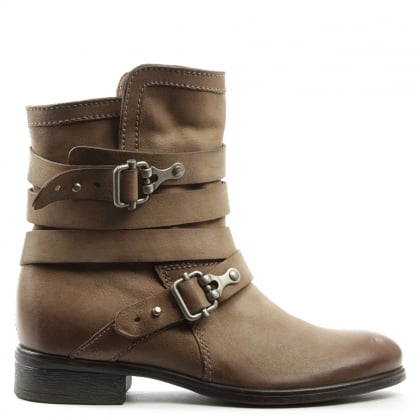 Meghan Taupe Leather Double Buckle Ankle Boot