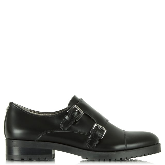 Melanie Black Patent Monk Shoe