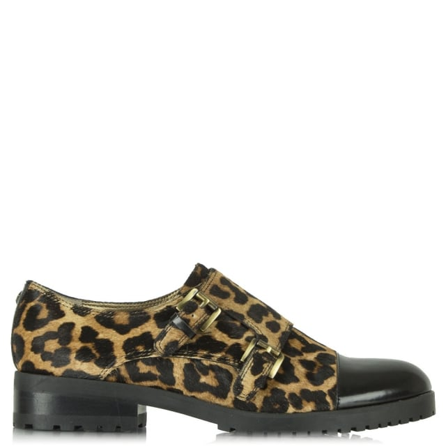 Melanie Leopard Print Calf Hair Monk Shoe