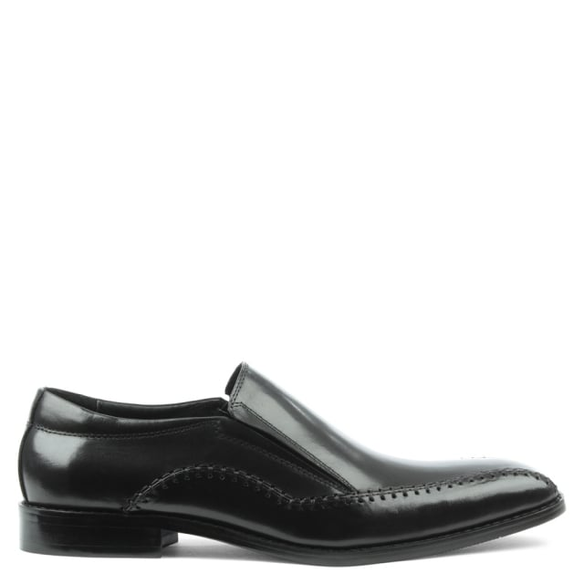 Melbury Black Leather Slip On Stitch Loafer