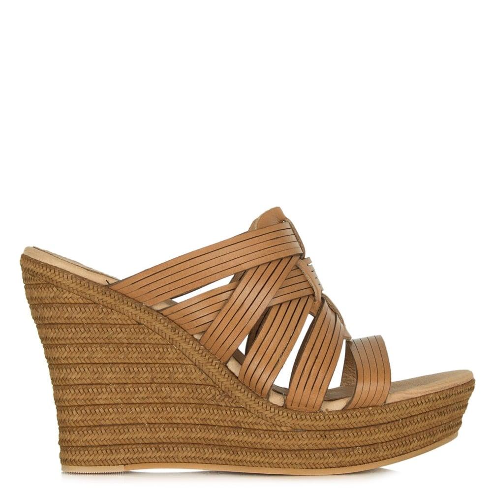 9e4820732f1 Melinda Tan Leather Wedge Sandal