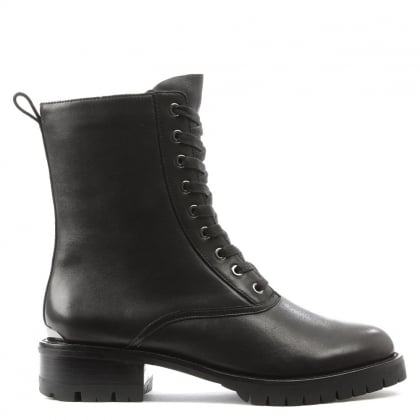 Melissa Black Leather Lace Up Biker Boot