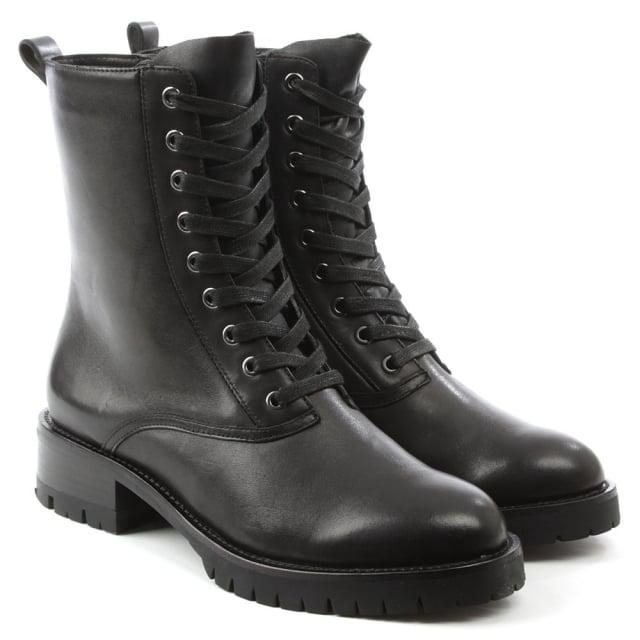 7fc686f9d8c Melissa Black Leather Lace Up Biker Boot