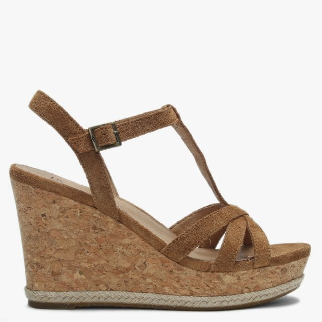 Ugg Melissa Chestnut Suede T Bar Wedge Sandals