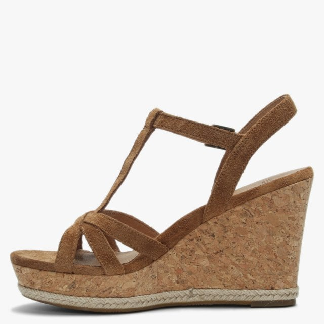 fea983fc23b Melissa Chestnut Suede T Bar Wedge Sandals