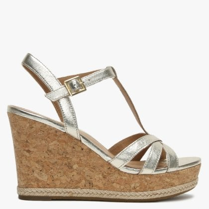 7d96ffc42ed2 Melissa Gold Metallic Leather T Bar Wedge Sandals. Free Standard UK Delivery