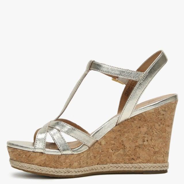 5de55c57231 Melissa Gold Metallic Leather T Bar Wedge Sandals