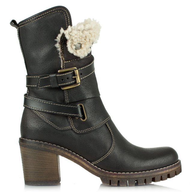 Mellow Black Leather Shearling Cuff Ankle Boot