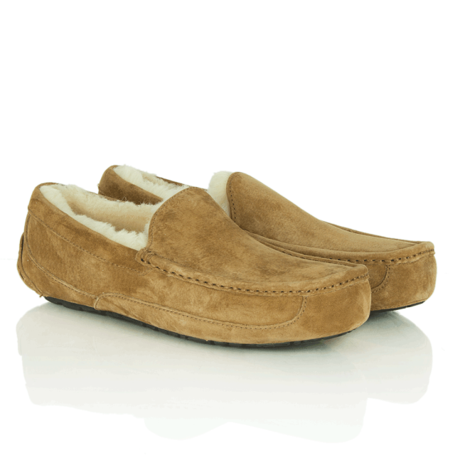 ed974fa4816 Men's Ascot Chestnut Suede Shearling Slippers