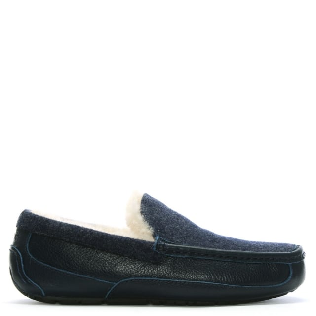 52667681741 Men's Ascot New Navy Suede Shearling Slippers