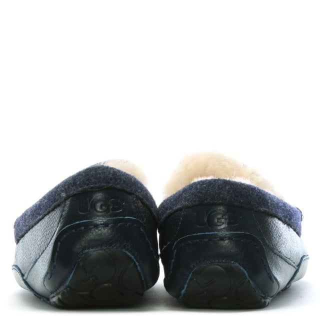 a56d3e37277 Men's Ascot New Navy Suede Shearling Slippers