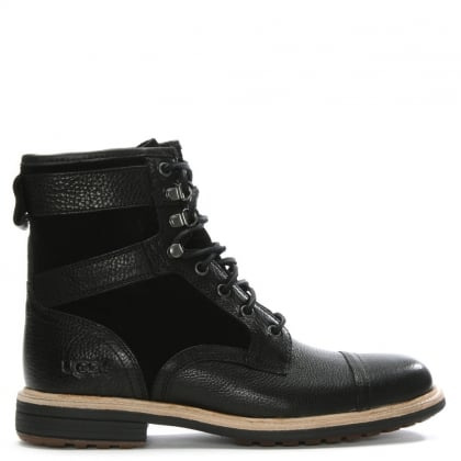 Men's Magnusson Black Leather Lace Up Boots