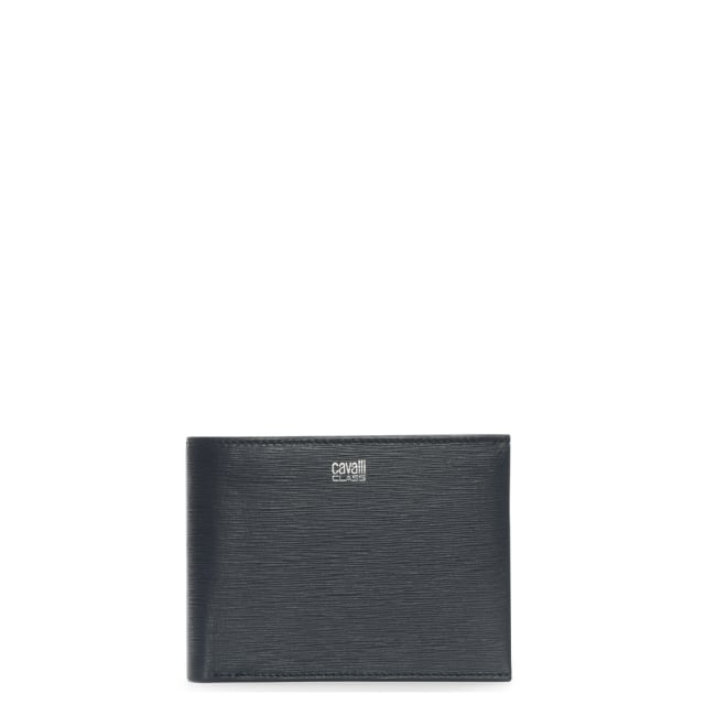Cavalli Class Mens Navy Leather Textured Wallet