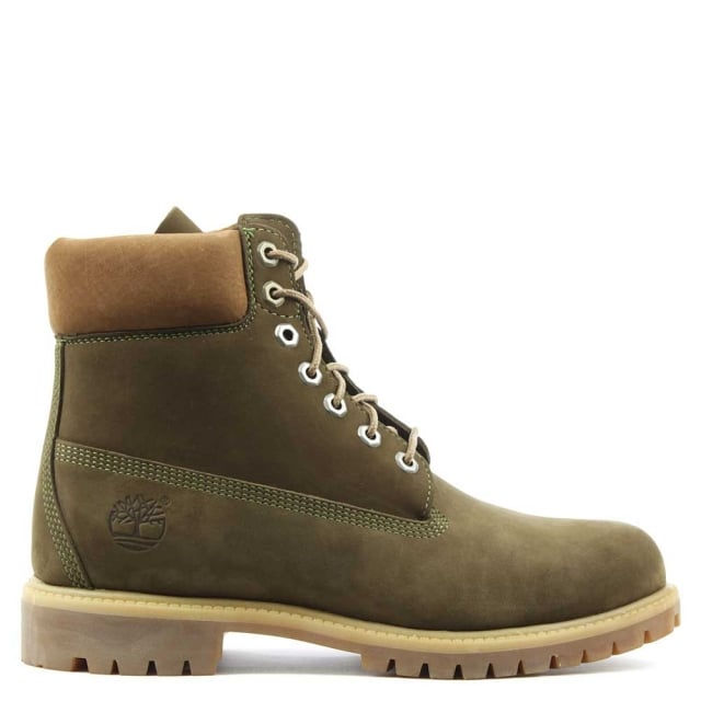 Mens 6Inch Classic Lace Up Khaki Leather Boot