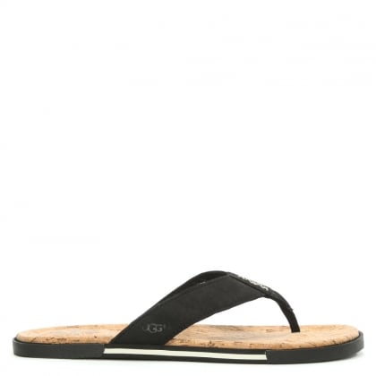UGG Men's Braven Black Leather Oiled Flip Flop