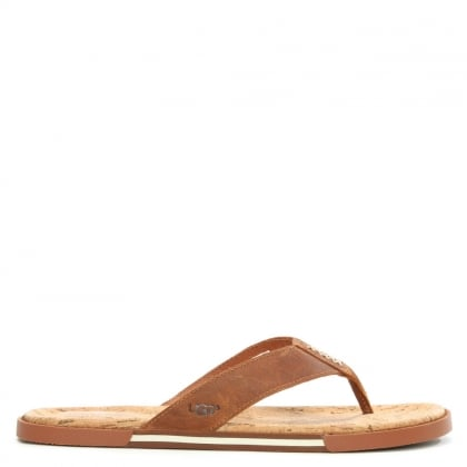 UGG Men's Braven Tamarind Leather Oiled Flip Flop