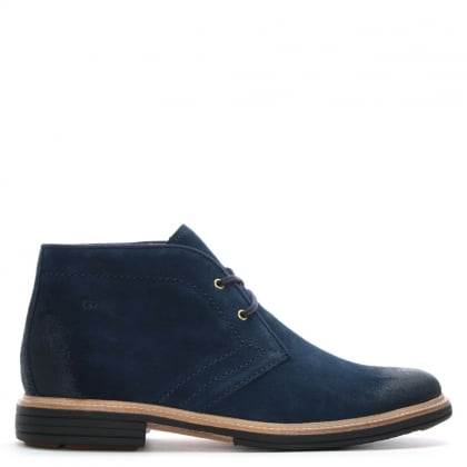 Men's Dagmann Navy Leather Chukka Boots