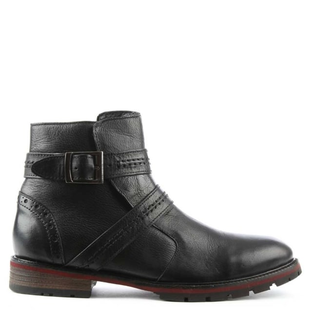 Men's Doukara Black Leather Strap & Buckle Ankle Boot