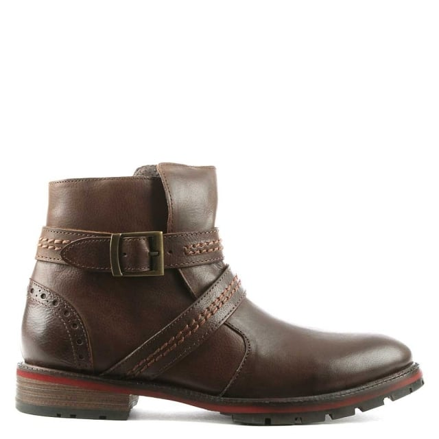 Men's Doukara Brown Leather Strap & Buckle Ankle Boot